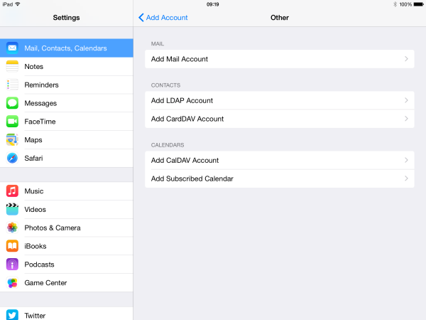 tap on add mail account