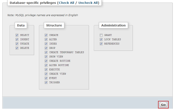 How to assign MySQL privileges to database users in Plesk?