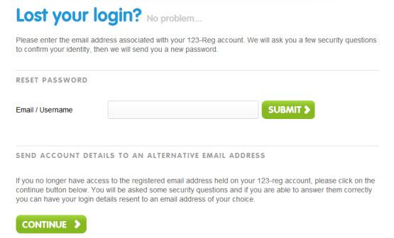 lost login page