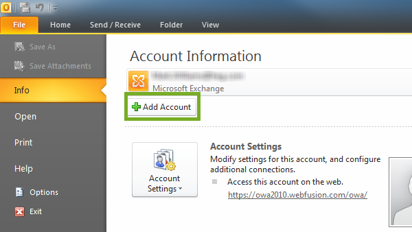 click on add account