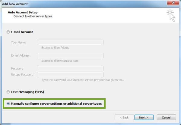 click on manually configure option