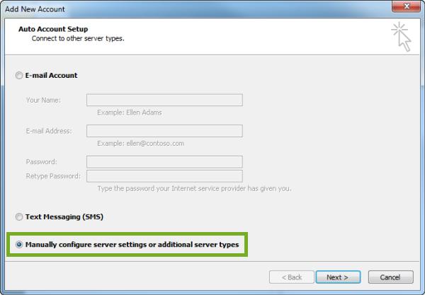click on manually configure option