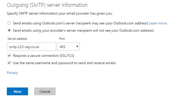 outgoing server settings