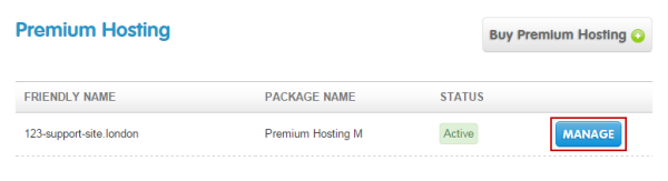 Choose which Premium hosting package to manage