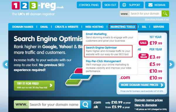 Search Engine Optimiser landing page link