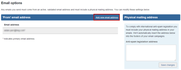 add new email address