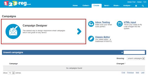 Choose campaign designer