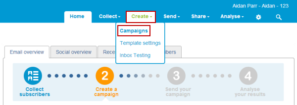 create campaigns page