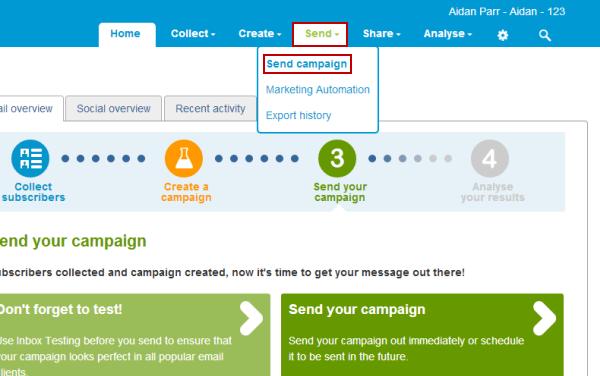 send campaign page