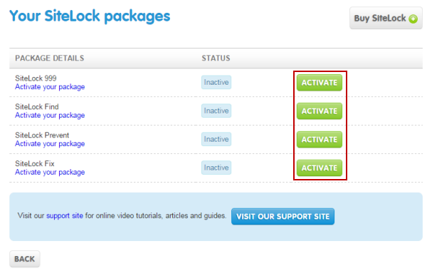 SiteLock package list