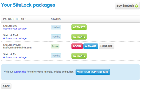 Manage your SiteLock package