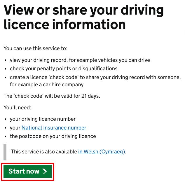 Start licence check