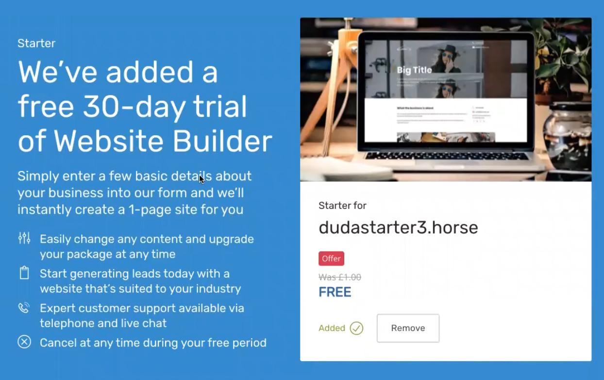 Website Builder Starter is automatically added