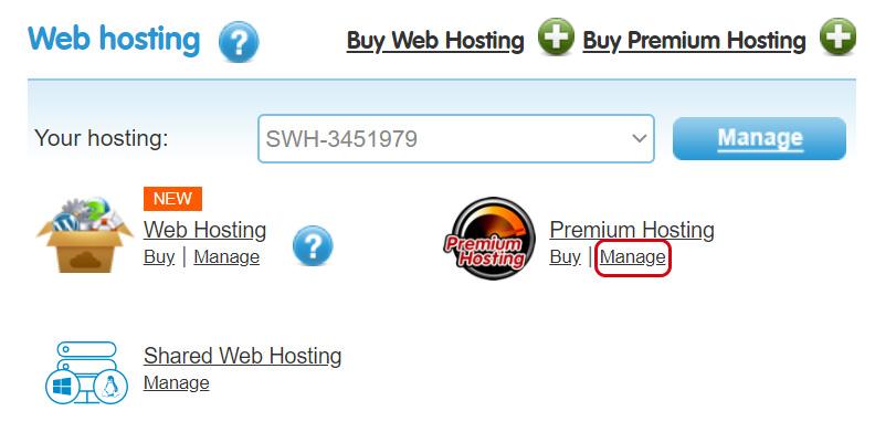 Manage Premium Hosting
