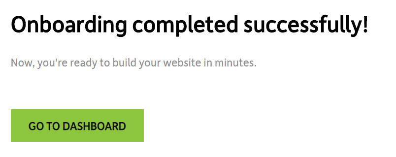 Onboarding successful