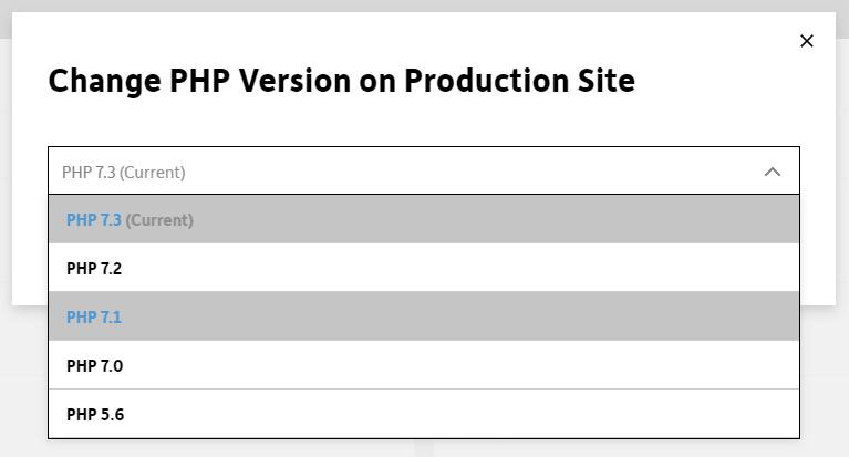 Choose PHP version