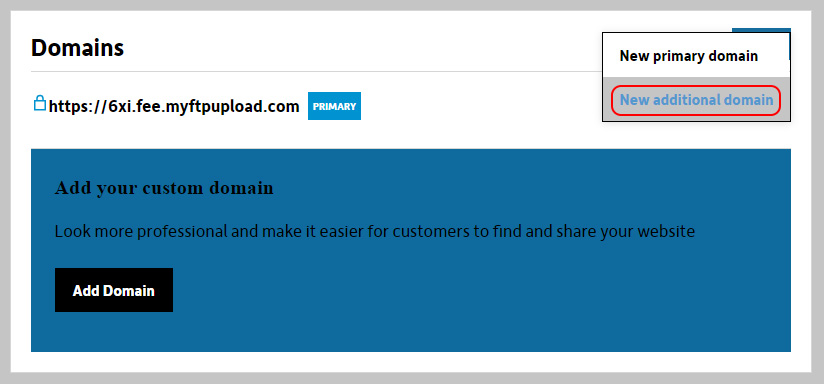 Select New additional domain