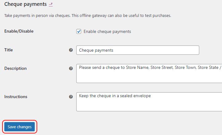 Set up payment option
