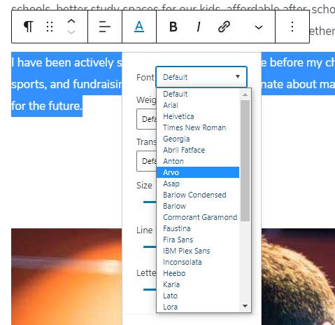 Choose new font