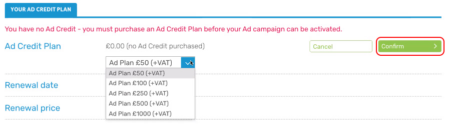 Confirm Ad Plan