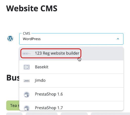 Choose 123 Reg website builder