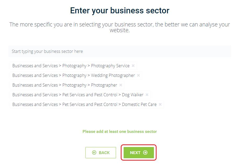 Choose business sectors