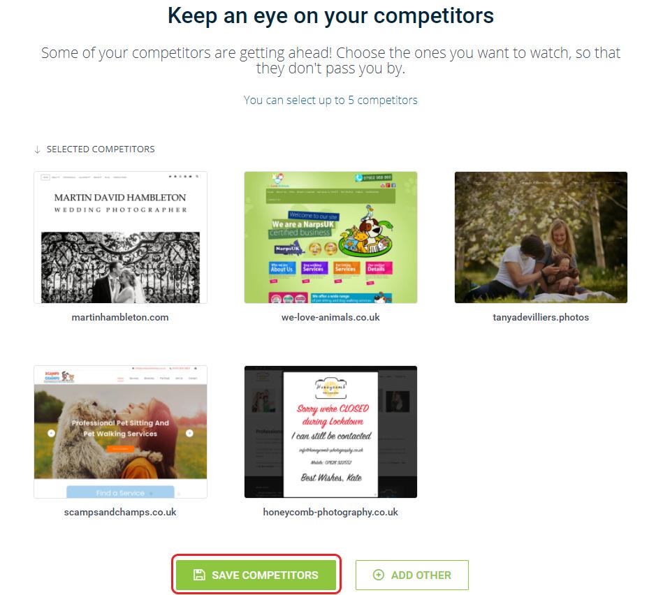 Choose competitors