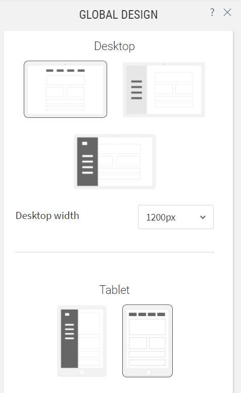 Choose layout option